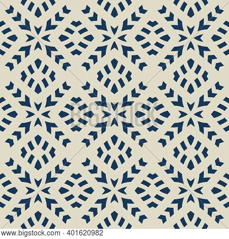 Vector Geometric Seamless Pattern. Abstract Ethnic Texture With Ornamental Grid, Mesh, Lattice, Cros