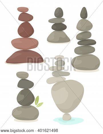 Set Of Balancing Pyramid Of Stones, Harmony, Balance. Vector Illustration In Flat Style.