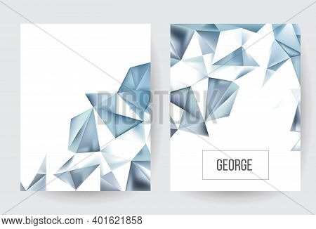 Ice Cube Polygonal Vector Texture. Magic Winter. Stylish Fashion Triangles Backdrop. 3d Luxury Flat