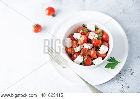 Tomato Parsley Feta Cheese Salad In A Bowl