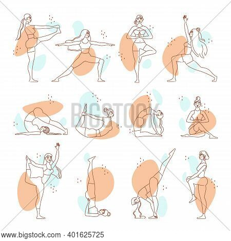 Woman Yoga Line Art Color Set Of Young Girls Doing Hatha Yoga Exercises Isolated Vector Illustration