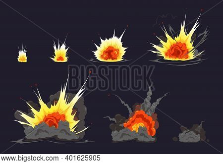 Bomb Explosion Cartoon Animation Comics Strip Series With Colorful Fire Bang Debris Cloud Black Back