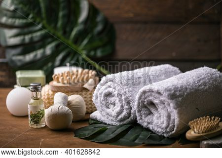 Wellness Decoration, Spa Massage Setting,  Oil On Wooden Background. Spa, Zen And Relax Concept. Spa