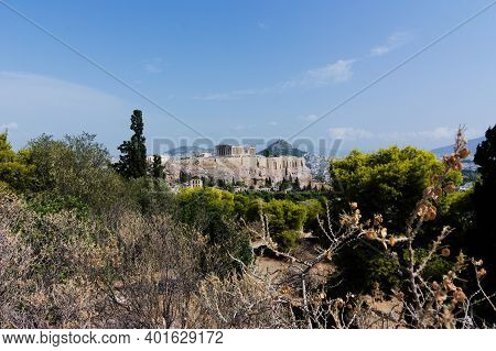 Panoramic View Of The Acropolis From Philopappou Hill, Athens, Greece.