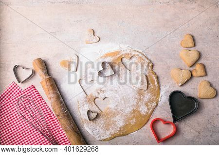 Valentine Day Baking Background. Ingredients For Cooking Valentine's Heart.  Top View Copy Space.val