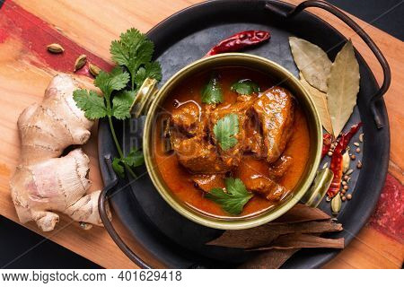 Food Concept Homemade Beef Masala Curry With Masala Spices Ingredients With Copy Space