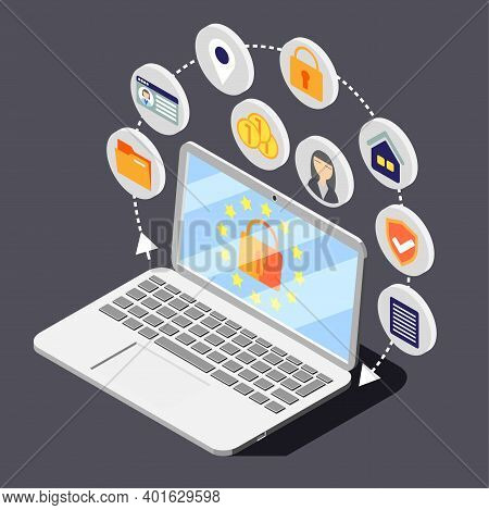 Personal Data Protection Gdpr Isometric Background Composition With Image Of Laptop Surrounded By Ci
