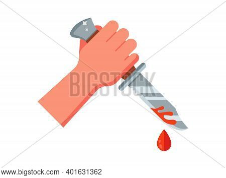 The Bandit Holds A Bloody Knife In His Hand. Flat Vector Illustration Isolated On White Background.