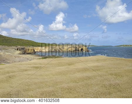 Caribbean Landscape With Vegetation, Volcanic Cliff And Waves Breaking Over Volcanic Rocks.savanna O