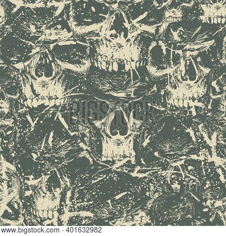 Abstract Seamless Pattern With Human Skulls. Dark Vector Background With Ominous Skulls In Grunge St
