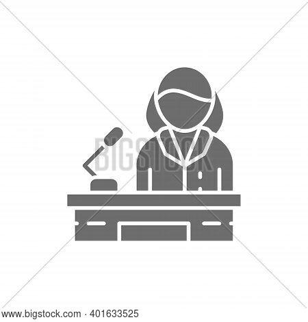Orator, Woman Behind The Podium, Female Politician Grey Icon.