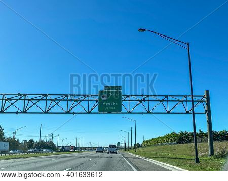 Orlando, Fl Usa - January 20, 2020: Highway Signs On Interstate 4 Leading To Highway 429 Towards Apo