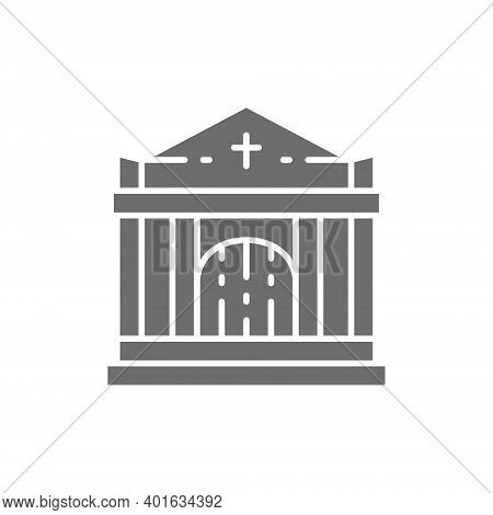 Crypt, Tomb House, Cemetery, Church Gray Icon.