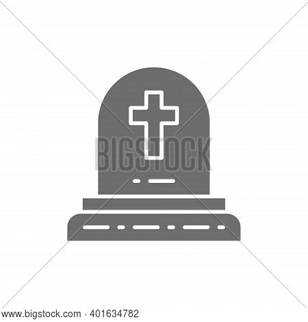 Tombstone With Christian Cross, Grave, Gravestones Gray Icon.