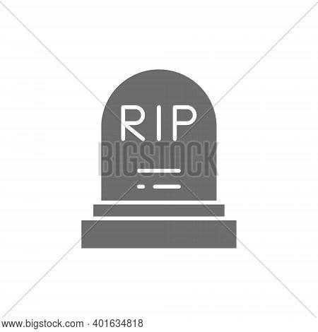 Tombstone, Grave, Gravestones Gray Icon. Isolated On White Background