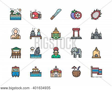 Set Of Thailand Culture Color Line Icon. Machete, Muay Thai, Mangosteen And More