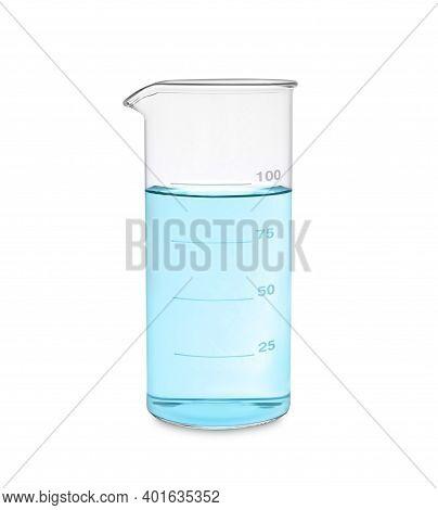 Beaker With Light Blue Liquid Isolated On White