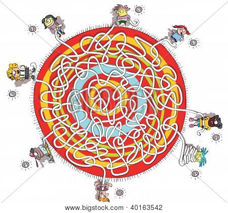 Eight Children Around Circular Carpet Maze Game