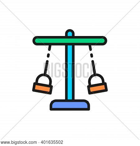 Double Swing Set, Rope Carousel For Playground Flat Color Line Icon.