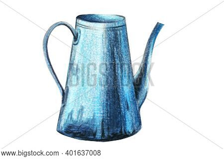 Blue Garden Watering Can Isolated White Background
