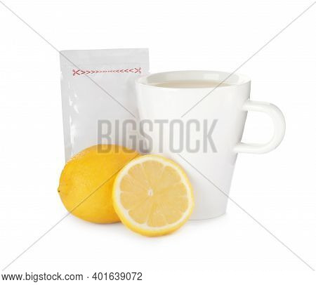 Cup Of Hot Tea, Lemon And Cold Remedy On White Background