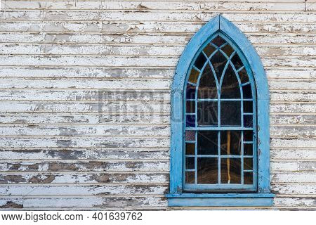 Old Gothic Stained Glass Window In A Wooden Church Near Merritt, British Columbia, Canada