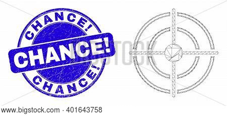 Web Carcass Bullseye Pictogram And Chance Exclamation Seal. Blue Vector Round Scratched Seal Stamp W