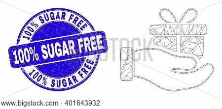 Web Mesh Gift Hand Pictogram And 100 Percents Sugar Free Seal. Blue Vector Round Distress Seal With