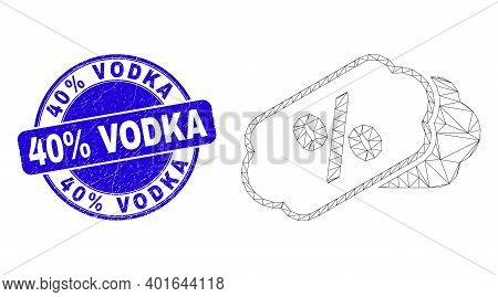 Web Mesh Percent Tags Icon And 40 Percents Vodka Seal Stamp. Blue Vector Rounded Grunge Seal Stamp W