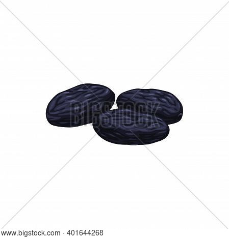 Prunes Or Dried Plum Fruits, Dry Food Snacks And Fruit Sweets, Isolated Vector Icon. Dried Plum Prun