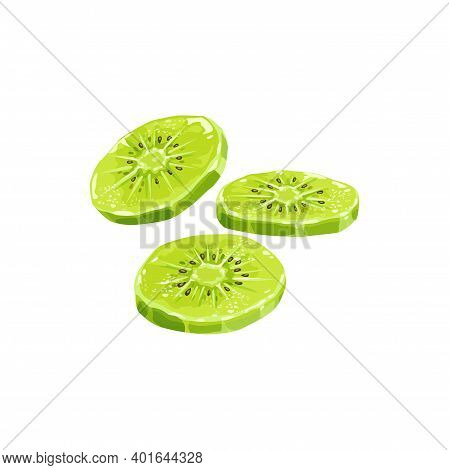 Kiwi Dried Fruits, Dry Food And Candied Fruit Sweets, Isolated Vector Icon. Candied Dried Kiwi Succa