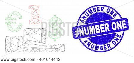 Web Mesh Currency Pedestal Pictogram And Hashtag Number One Seal. Blue Vector Rounded Distress Seal