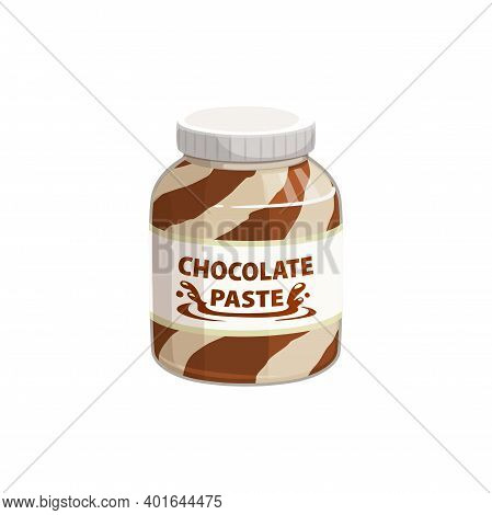Chocolate Spread In Jar, Cream Of Hazelnut, Cocoa And Nougat Duo Butter Paste, Vector Icon. Chocolat