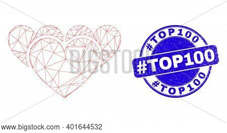Web Mesh Love Hearts Pictogram And Hashtag Top100 Stamp. Blue Vector Round Grunge Watermark With Has