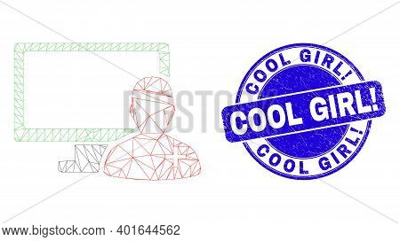 Web Carcass Online Doctor Icon And Cool Girl Exclamation Seal Stamp. Blue Vector Rounded Grunge Seal