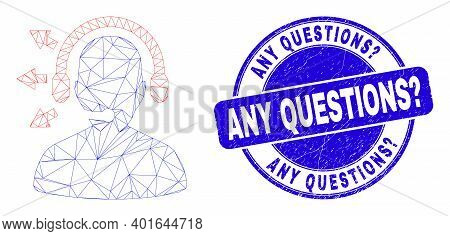 Web Mesh Radio Operator Icon And Any Questions Question Seal Stamp. Blue Vector Round Grunge Seal St