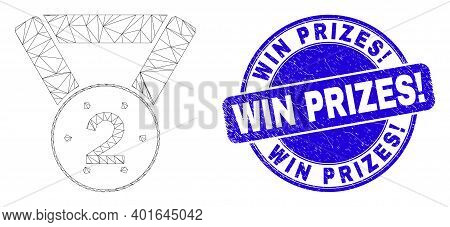 Web Carcass 2nd Place Medal Pictogram And Win Prizes Exclamation Seal Stamp. Blue Vector Round Grung