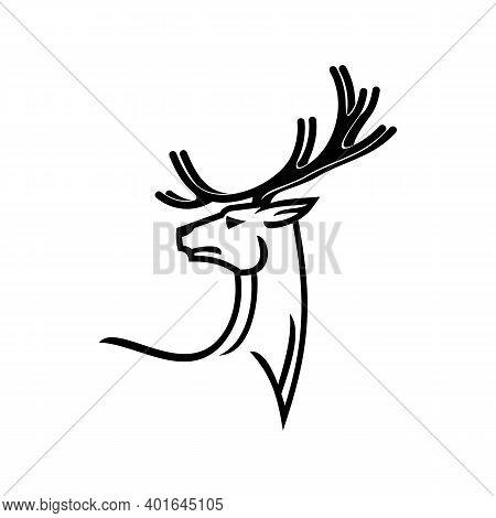 Antler Animal Isolated Monochrome Deer Silhouette. Vector Reindeer Hunting Club Logo, Tattoo Design