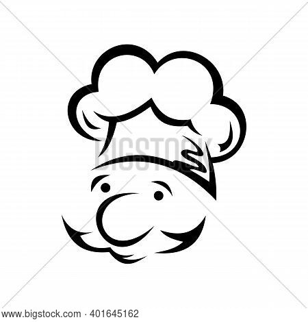 Chef Cook Isolated Caucasian Male Portrait. Vector Baker Or Waiter In Toque Hat, Outline Man