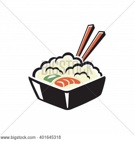 Rice With Shrimp And Avocado Isolated Japanese Food. Vector Bowl And Chopsticks, Seafood Dish
