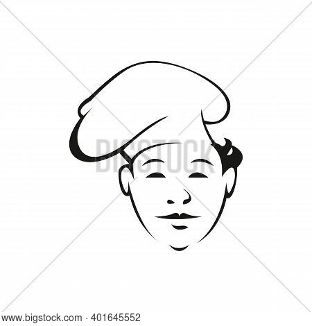 Young Cook Outline Vector Illustration. Professional Chef With Hat Isolated Character On White Backg