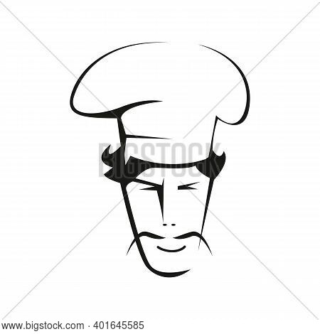 Spanish Chef Contour Vector Illustration. Hispanic With Thin Mustache Character And Chef Hat Outline