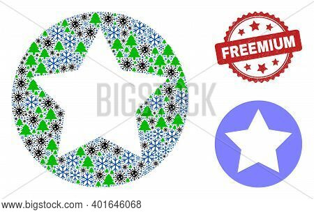 Winter Covid Collage Rounded Star, And Grunge Freemium Red Rosette Stamp. Collage Rounded Star Is Co