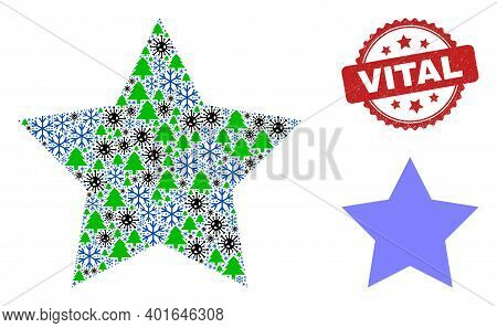 Winter Covid Collage Red Star, And Scratched Vital Red Rosette Stamp Seal. Collage Red Star Is Organ