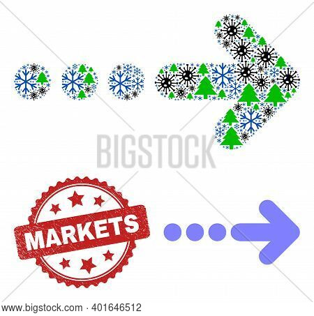Winter Covid Mosaic Send Right, And Unclean Markets Red Rosette Stamp Print. Collage Send Right Is F