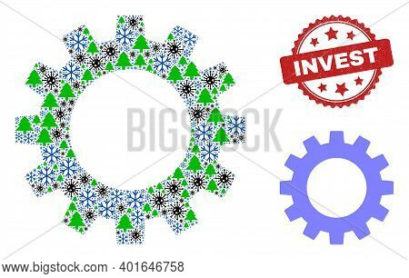 Winter Covid Collage Gearwheel, And Scratched Invest Red Rosette Stamp. Collage Gearwheel Is Designe