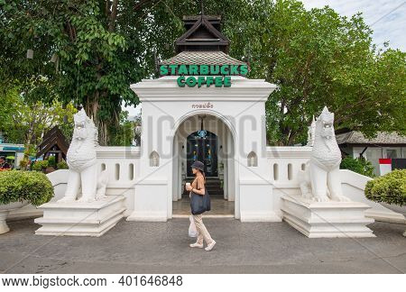 Chiang Mai, Thailand : May-14-2019 : Customer Walking In Front Of The Starbucks Coffee Branches In K
