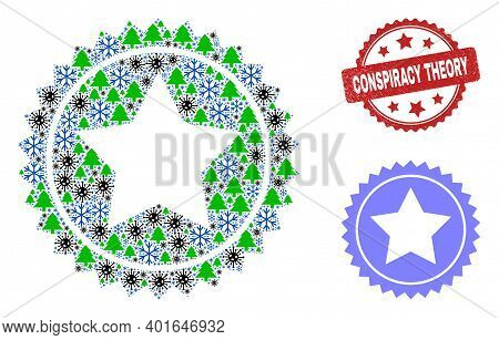 Winter Viral Composition Star Seal Stamp, And Textured Conspiracy Theory Red Rosette Stamp Seal. Col