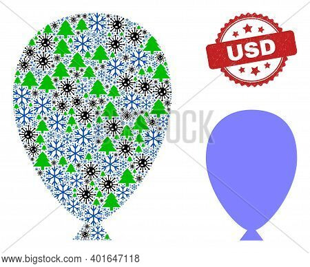 Winter Coronavirus Collage Celebration Ballon, And Usd Red Rosette Stamp Imitation. Collage Celebrat
