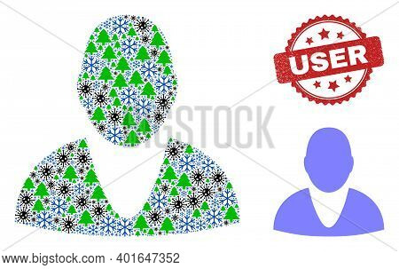 Winter Pandemic Collage User, And Dirty User Red Rosette Stamp. Collage User Is Formed Of Covid-2019
